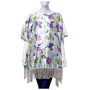 White, Lilac and Yellow Tulip Print 100% Polyester Poncho with Fringe (One Size)