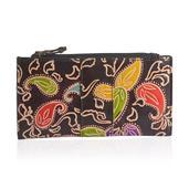 Black Paisley Handpainted Genuine Leather Wallet (7.5x4 in)