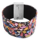 Multi Color Shell, Austrian Crystal Stainless Steel Bracelet (7.00 In)