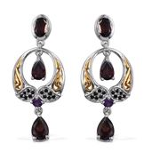 Umba River Zircon, Amethyst, Thai Black Spinel 14K YG and Platinum Over Sterling Silver Dangle Earrings TGW 5.600 Cts.