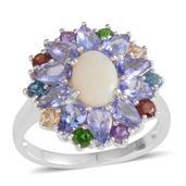 Australian White Opal, Multi Gemstone Sterling Silver Ring (Size 8.0) TGW 3.40 cts.