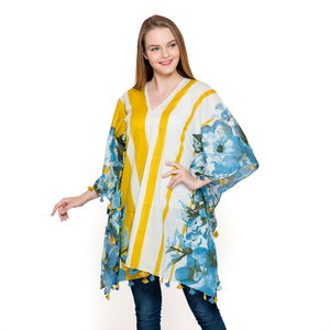 V-Neck Blue Floral Pattern 100% Cotton Gold Striped Poncho with Tassels (Free Size)