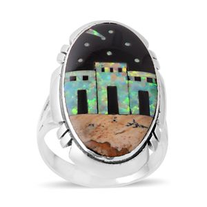 Santa Fe Style Lab Created Opal, Australian Black Opal, Picture Jasper Sterling Silver Elongated Shooting Star Village Ring (Size 6.0) TGW 29.35 cts.