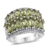 Hebei Peridot, White Topaz Platinum Over Sterling Silver Ring (Size 7.0) TGW 6.230 cts.