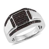 Red Diamond (IR) Platinum Over Sterling Silver Signet Men's Ring (Size 7.0) TDiaWt 0.50 cts, TGW 0.500 cts.