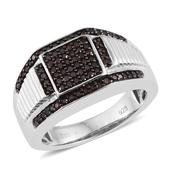 Red Diamond (IR) Platinum Over Sterling Silver Signet Men's Ring (Size 8.0) TDiaWt 0.50 cts, TGW 0.500 cts.