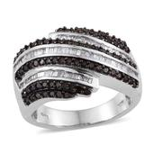 Red Diamond (IR), Diamond Platinum Over Sterling Silver Bypass Ring (Size 8.0) TDiaWt 0.98 cts, TGW 0.980 cts.