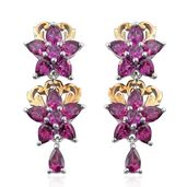 Orissa Rhodolite Garnet 14K YG and Platinum Over Sterling Silver Floral Drop Earrings TGW 5.00 cts.