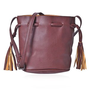J Francis - Brown Faux Leather Bucket Bag with Tassels  (7.5x5x8 in)