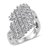J Francis - Platinum Over Sterling Silver Bypass Ring Made with SWAROVSKI ZIRCONIA (Size 6.0) TGW 4.00 cts.