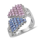 J Francis - Platinum Over Sterling Silver Bypass Ring Made with Multi Color SWAROVSKI ZIRCONIA (Size 6.0) TGW 4.00 cts.