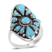 Santa Fe Style Turquoise Sterling Silver Ring (Size 7.0) TGW 4.902 cts.