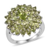 Hebei Peridot Platinum Over Sterling Silver Ring (Size 6.0) TGW 9.560 cts.