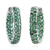 Kagem Zambian Emerald Platinum Over Sterling Silver Inside Out Huggie Hoop Earrings TGW 5.200 Cts.