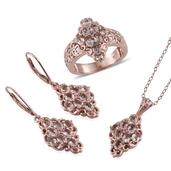 Marropino Morganite, Madagascar Pink Sapphire 14K RG Over Sterling Silver Lever Back Earrings, Ring (Size 6) and Pendant With Chain (20 in) TGW 5.08 cts.