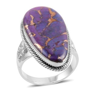 Santa Fe Style Mojave Purple Turquoise Sterling Silver Ring (Size 10.0) TGW 2.250 cts.