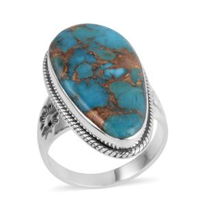 Santa Fe Style Mojave Turquoise Sterling Silver Ring (Size 10.0) TGW 2.250 cts.
