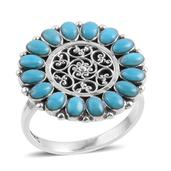 Santa Fe Style Turquoise Sterling Silver Ring (Size 11.0) TGW 1.750 cts.