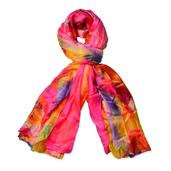 J Francis - Orange and Pink 100% Natural Mulberry Silk Scarf (69x41 in)