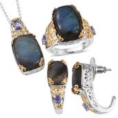 Malagasy Labradorite, Tanzanite 14K YG and Platinum Over Sterling Silver J-Hoop Earrings, Ring (Size 8) and Pendant With Chain (20 in) TGW 47.400 cts.