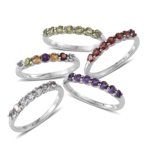 Set of 5 Multi Gemstone Stainless Steel Stack Rings (Size 5) TGW 4.68 cts.