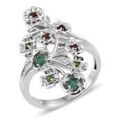 KARIS Collection - Multi Gemstone Platinum Bond Brass Ring (Size 7.0) TGW 0.430 cts.