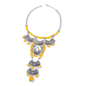Designer Inspired Yellow Chroma Silvertone Statement Necklace (20-22 in)