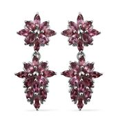 Pink Tourmaline Platinum Over Sterling Silver Earrings TGW 2.660 Cts.