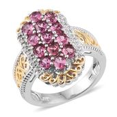 Pink Tourmaline, White Zircon 14K YG and Platinum Over Sterling Silver Openwork Ring (Size 5.0) TGW 2.500 cts.
