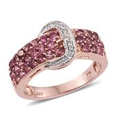 Pink Tourmaline, White Zircon 14K RG Over Sterling Silver Buckle Ring (Size 6.0) TGW 1.680 cts.