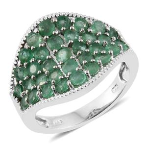 Kagem Zambian Emerald Platinum Over Sterling Silver Cluster Concave Ring (Size 7.0) TGW 2.79 cts.