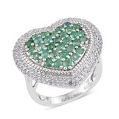 Kagem Zambian Emerald, White Topaz Platinum Over Sterling Silver Ring (Size 7.0) TGW 3.250 cts.