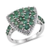 Kagem Zambian Emerald, White Topaz Platinum Over Sterling Silver Ring (Size 9.0) TGW 2.36 cts.