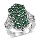 White Topaz, Kagem Zambian Emerald Platinum Over Sterling Silver Cluster Ring (Size 6.0) TGW 3.690 cts.