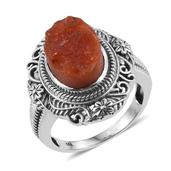 Rough Cut Jalisco Fire Opal Sterling Silver Ring (Size 7.0) TGW 5.75 cts.