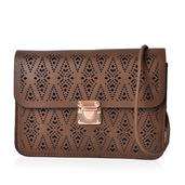 J Francis - Dark Taupe Faux Leather Openwork Flap Over Crossbody Clutch Bag (8x6 in)