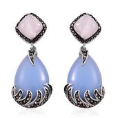 Blue Quartzite, Galilea Rose Quartz, Hematite Stainless Steel Dangle Earrings TGW 47.000 Cts.