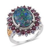Australian Mosaic Opal, Orissa Rhodolite Garnet, Catalina Iolite 14K YG and Platinum Over Sterling Silver Ring (Size 7.0) TGW 8.540 cts.
