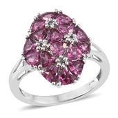 Orissa Rhodolite Garnet, Black Diamond Accent Platinum Over Sterling Silver Ring (Size 7.0) TDiaWt 0.04 cts, TGW 4.300 cts.