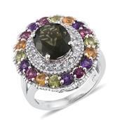 Bohemain Moldavite, Multi Gemstone Platinum Over Sterling Silver Ring (Size 9.0) TGW 5.920 cts.