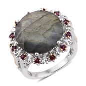 Malagasy Labradorite, Orissa Rhodolite Garnet 14K YG and Platinum Over Sterling Silver Ring (Size 7.0) TGW 19.000 cts.