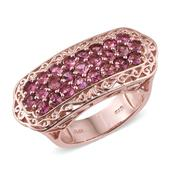 Pink Tourmaline 14K RG Over Sterling Silver Ring (Size 7.0) TGW 2.500 cts.