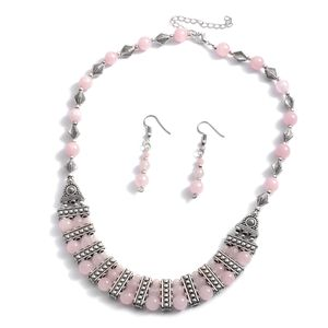 One Day TLV Galilea Rose Quartz Silvertone & Stainless Steel Earrings and Bib Necklace (18-20 in) TGW 75.00 cts.