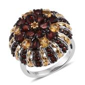 Mozambique Garnet, Brazilian Citrine 14K YG and Platinum Over Sterling Silver Ring (Size 7.0) TGW 5.61 cts.
