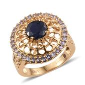 Stefy Kanchanaburi Blue Sapphire, Tanzanite 14K YG Over Sterling Silver Openwork Ring (Size 6.0) TGW 3.05 cts.
