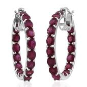 Niassa Ruby Platinum Over Sterling Silver Inside Out Hoop Earrings TGW 15.680 Cts.