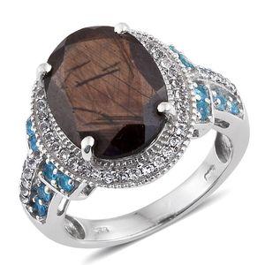 Chocolate Sapphire, Malgache Neon Apatite, White Topaz Platinum Over Sterling Silver Ring (Size 9.0) TGW 12.000 cts.
