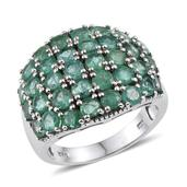 Kagem Zambian Emerald Platinum Over Sterling Silver Ring (Size 7.0) TGW 4.400 cts.