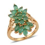 Kagem Zambian Emerald 14K YG Over Sterling Silver Ring (Size 5.0) TGW 3.550 cts.
