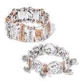 Austrian Crystal Goldtone and Silvertone Set of 2 Inspirational Bracelets (Stretchable)